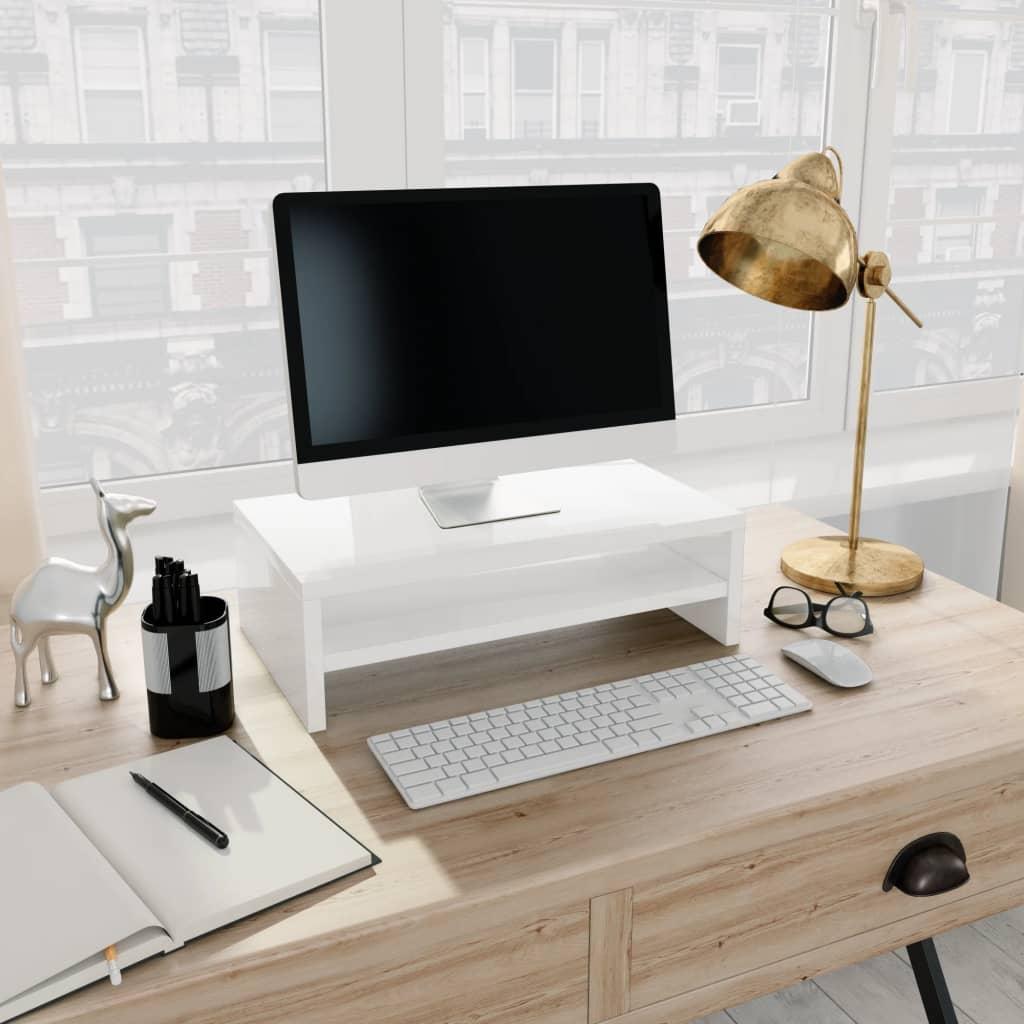 Stojan na monitor bílý s vysokým leskem 42x24x13 cm dřevotříska