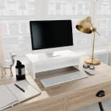 vidaXL Monitorstandaard 42x24x13 cm spaanplaat hoogglans wit