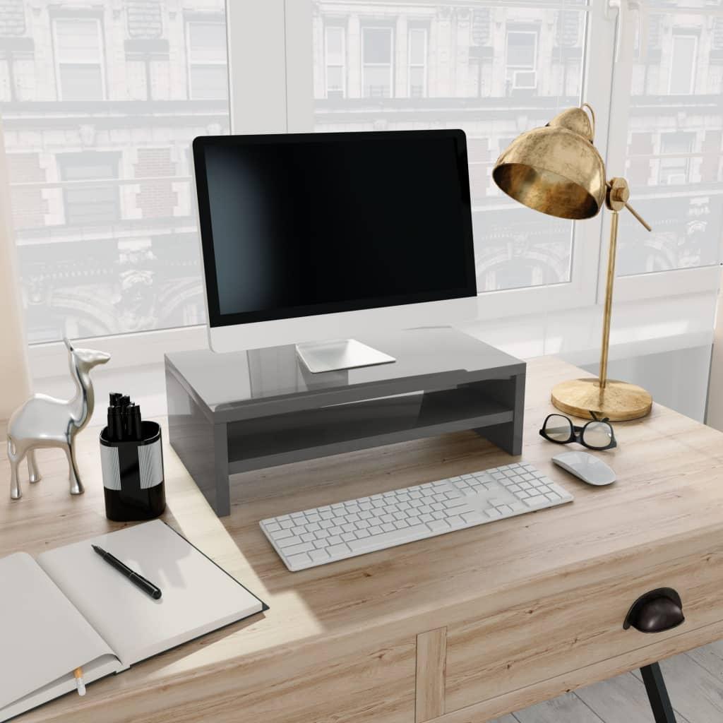 Stojan na monitor šedý s vysokým leskem 42x24x13 cm dřevotříska