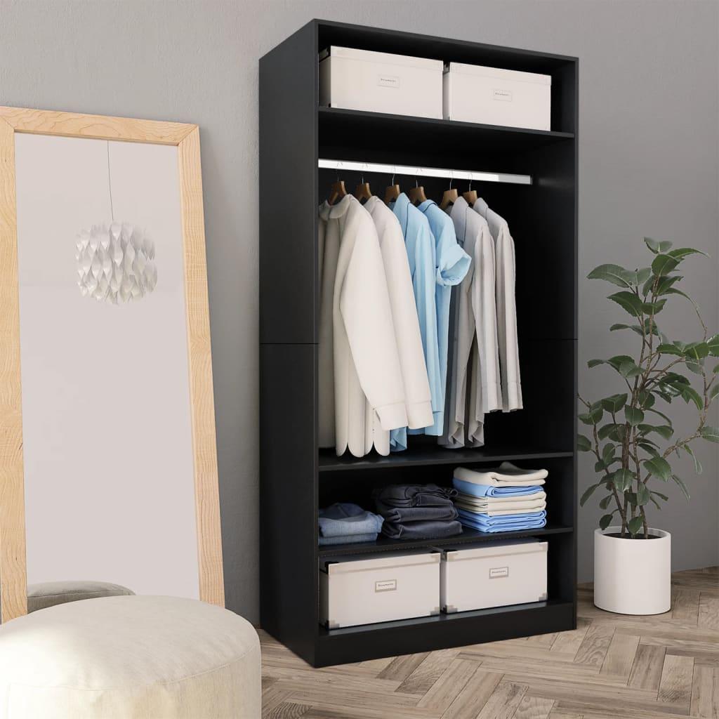 Šatní skříň černá 100 x 50 x 200 cm dřevotříska