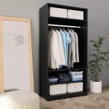 vidaXL Wardrobe Black 100x50x200 cm Chipboard