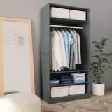 vidaXL Wardrobe Grey 100x50x200 cm Chipboard