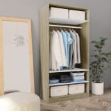 vidaXL Wardrobe White and Sonoma Oak 100x50x200 cm Chipboard