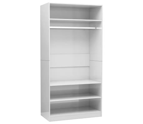 vidaXL Kledingkast 100x50x200 cm spaanplaat hoogglans wit
