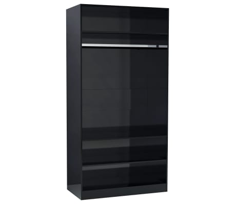 vidaXL Wardrobe High Gloss Black 100x50x200 cm Chipboard
