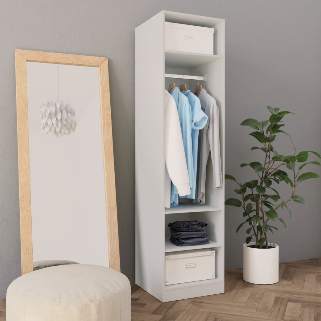 Šatní skříň bílá 50 x 50 x 200 cm dřevotříska