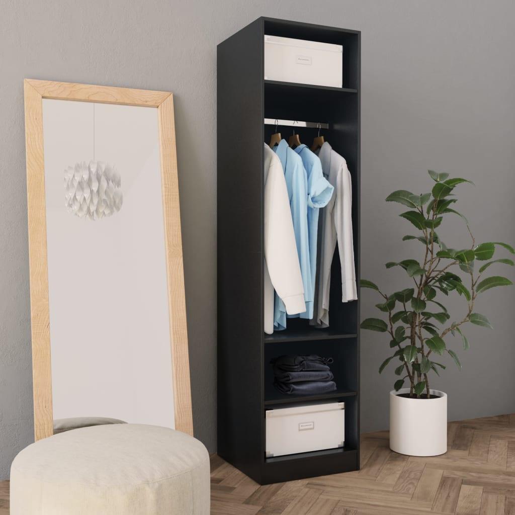 vidaXL fekete forgácslap ruhásszekrény 50 x 50 x 200 cm
