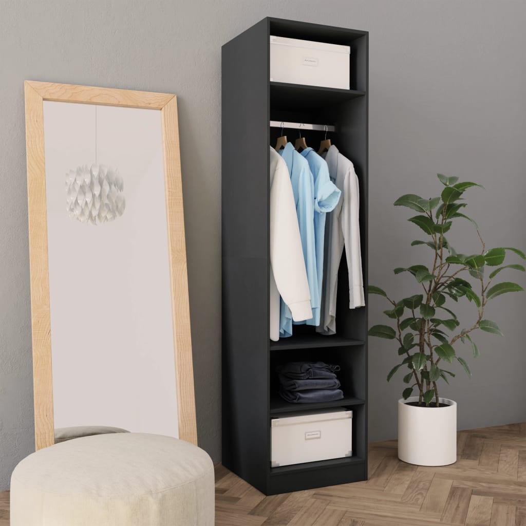 Šatní skříň šedá 50 x 50 x 200 cm dřevotříska