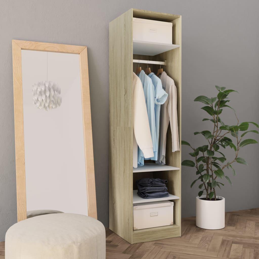 Šatní skříň bílá a dub sonoma 50 x 50 x 200 cm dřevotříska