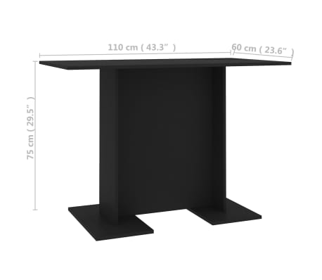 vidaXL Eettafel 110x60x75 cm spaanplaat zwart[6/6]