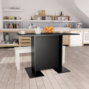 vidaXL Eettafel 110x60x75 cm spaanplaat zwart[1/6]