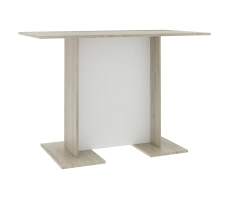 """vidaXL Dining Table White and Sonoma Oak 43.3""""x23.6""""x29.5"""" Chipboard"""