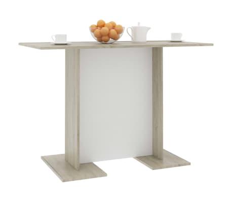 vidaXL Eettafel 110x60x75 cm spaanplaat wit en sonoma eikenkleur[5/6]
