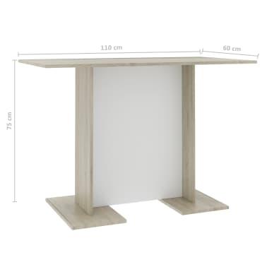 vidaXL Eettafel 110x60x75 cm spaanplaat wit en sonoma eikenkleur[6/6]