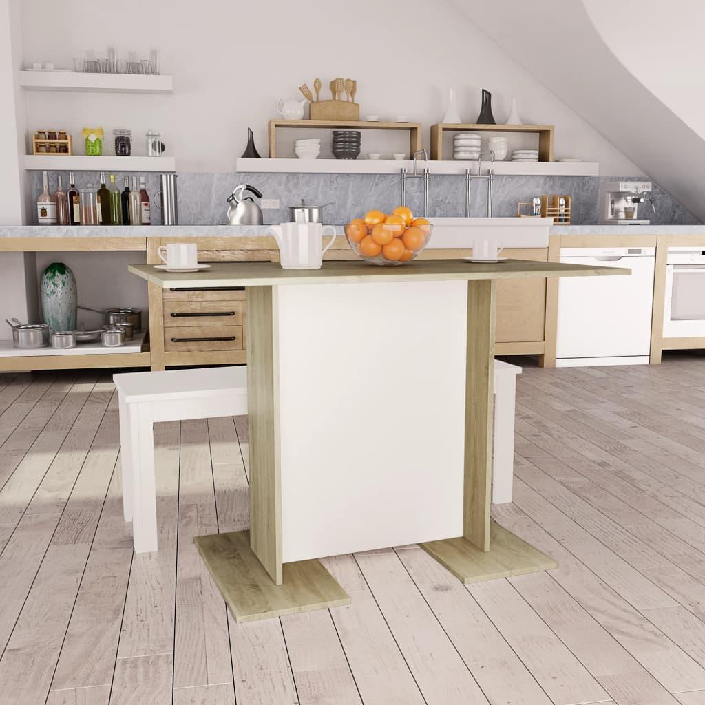 Jídelní stůl bílý a dub sonoma 110 x 60 x 75 cm dřevotříska
