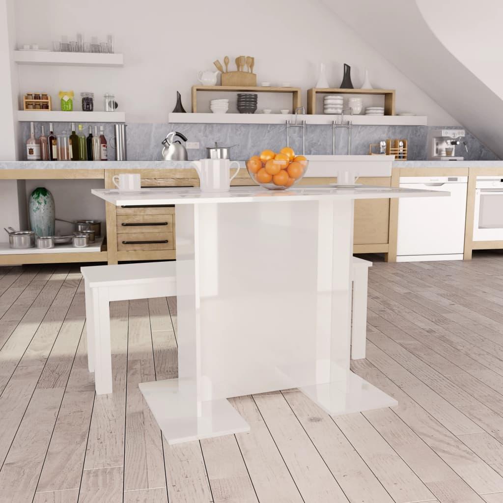 Jídelní stůl bílý s vysokým leskem 110 x 60 x 75 cm dřevotříska