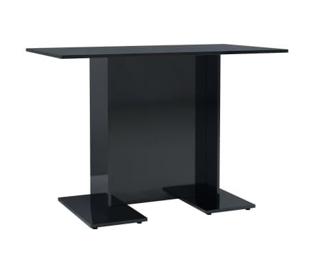 vidaXL Eettafel 110x60x75 cm spaanplaat hoogglans zwart[2/6]