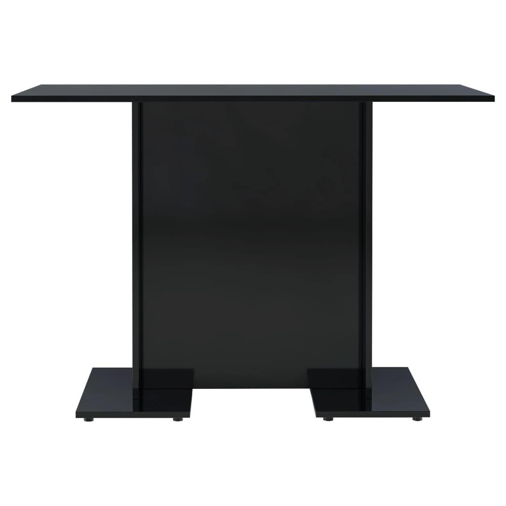 vidaXL Eettafel 110x60x75 cm spaanplaat hoogglans zwart