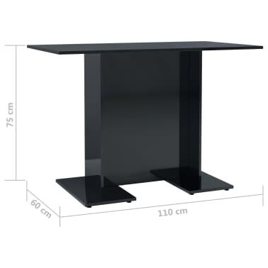 vidaXL Eettafel 110x60x75 cm spaanplaat hoogglans zwart[6/6]