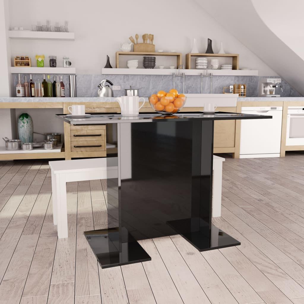 Jídelní stůl černý vysoký lesk 110 x 60 x 75 cm dřevotříska