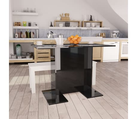 vidaXL Eettafel 110x60x75 cm spaanplaat hoogglans zwart[1/6]