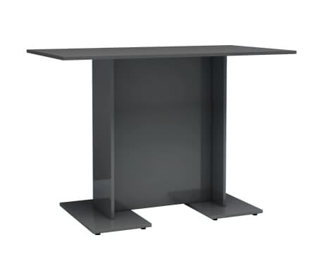 vidaXL Eettafel 110x60x75 cm spaanplaat hoogglans grijs[2/6]