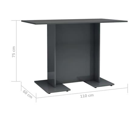 vidaXL Eettafel 110x60x75 cm spaanplaat hoogglans grijs[6/6]