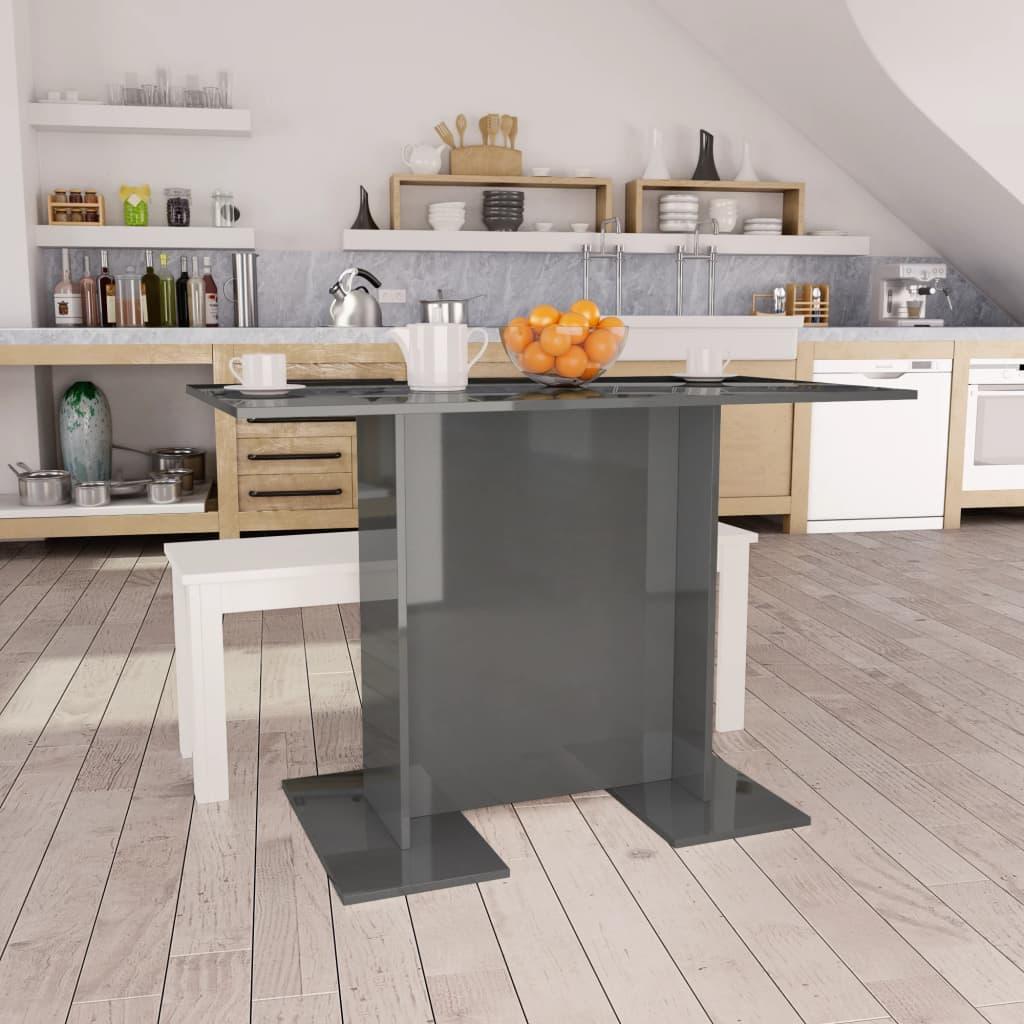 vidaXL spisebord 110 x 60 x 75 cm spånplade grå højglans