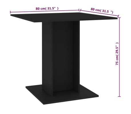 vidaXL Eettafel 80x80x75 cm spaanplaat zwart[6/6]