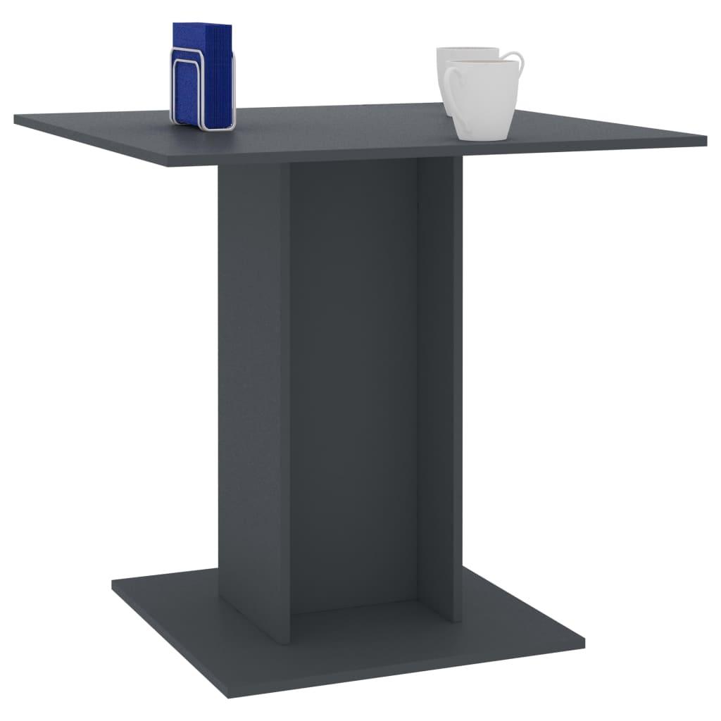 vidaXL Eettafel 80x80x75 cm spaanplaat grijs