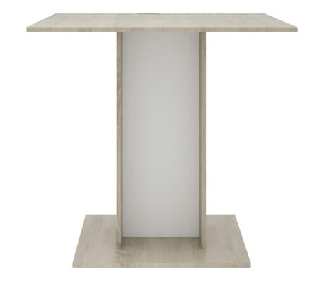 """vidaXL Dining Table White and Sonoma Oak 31.5""""x31.5""""x29.5"""" Chipboard[4/6]"""