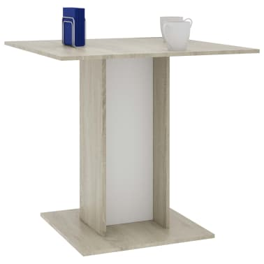 """vidaXL Dining Table White and Sonoma Oak 31.5""""x31.5""""x29.5"""" Chipboard[3/6]"""