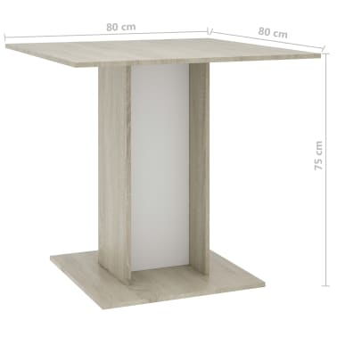 """vidaXL Dining Table White and Sonoma Oak 31.5""""x31.5""""x29.5"""" Chipboard[6/6]"""