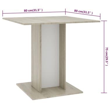 vidaXL Eettafel 80x80x75 cm spaanplaat wit en sonoma eikenkleur[6/6]