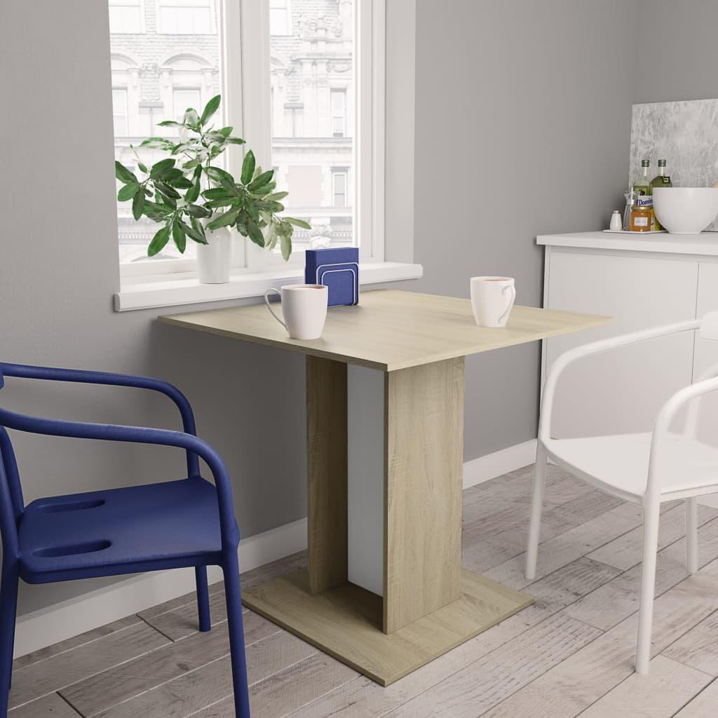 Jídelní stůl bílý a dub sonoma 80 x 80 x 75 cm dřevotříska