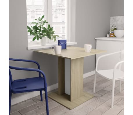 """vidaXL Dining Table White and Sonoma Oak 31.5""""x31.5""""x29.5"""" Chipboard[1/6]"""