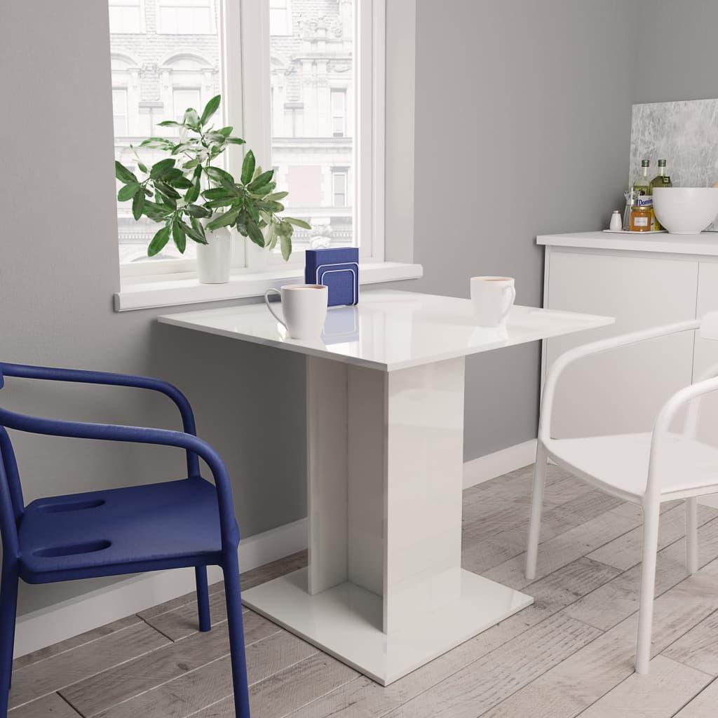 vidaXL Masă de bucătărie, alb foarte lucios, 80 x 80 x 75 cm, PAL poza 2021 vidaXL