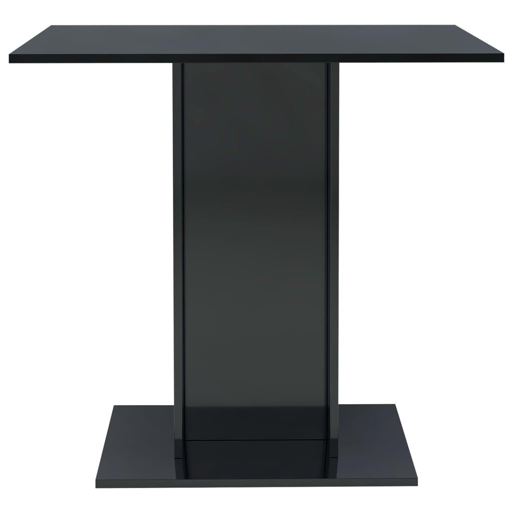 vidaXL Eettafel 80x80x75 cm spaanplaat hoogglans zwart