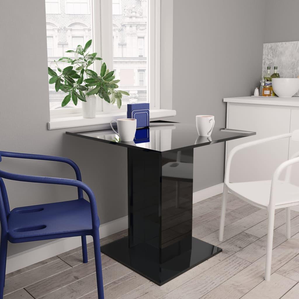 vidaXL Masă de bucătărie, negru foarte lucios, 80 x 80 x 75 cm, PAL poza vidaxl.ro