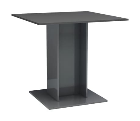 vidaXL Jídelní stůl šedý s vysokým leskem 80 x 80 x 75 cm dřevotříska