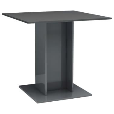 vidaXL Eettafel 80x80x75 cm spaanplaat hoogglans grijs[2/6]