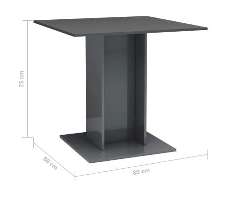 vidaXL Eettafel 80x80x75 cm spaanplaat hoogglans grijs[6/6]