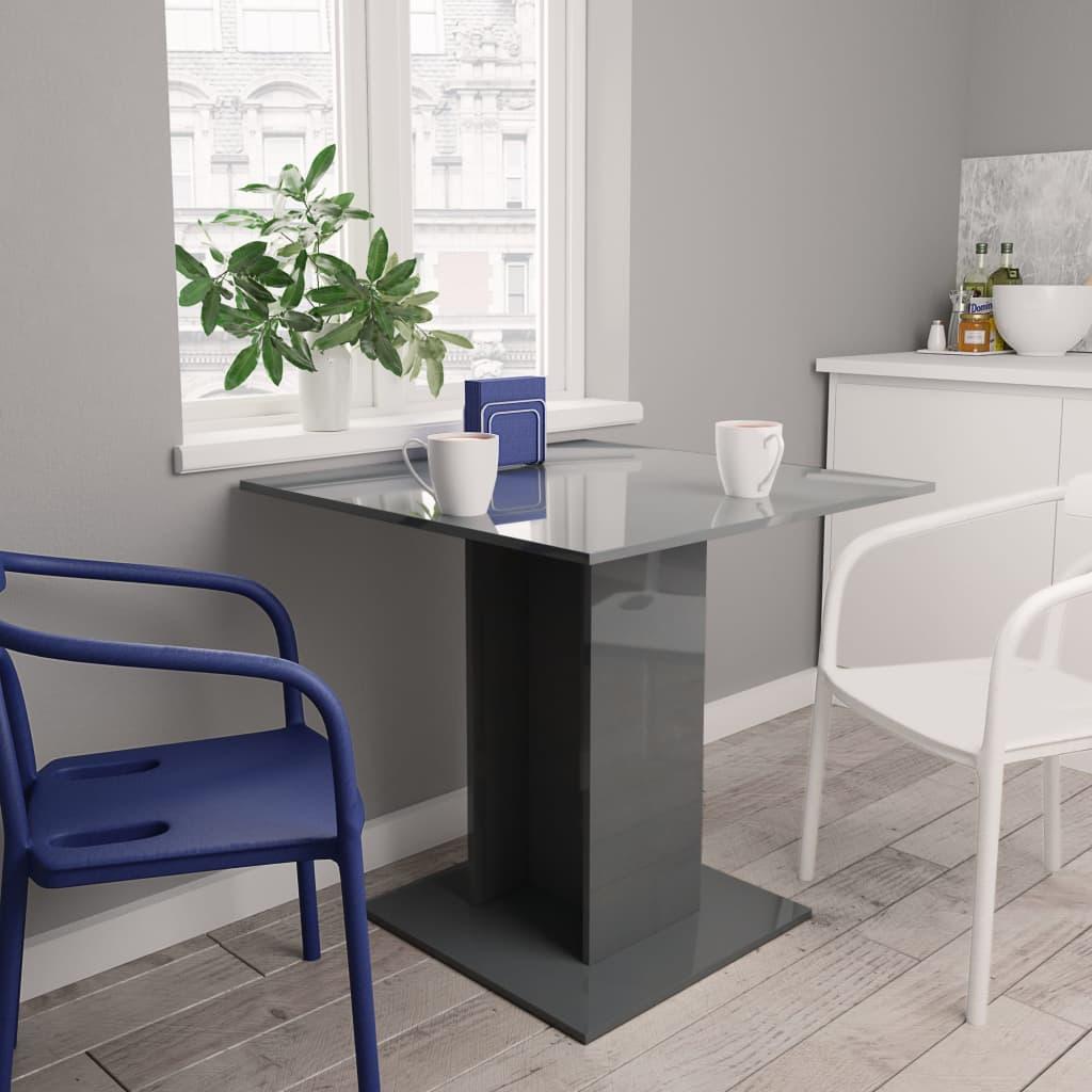 vidaXL Masă de bucătărie, gri foarte lucios, 80 x 80 x 75 cm, PAL poza 2021 vidaXL