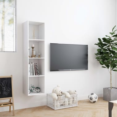 "vidaXL Book Cabinet/TV Cabinet White 56.3""x11.8""x14.2""[3/6]"