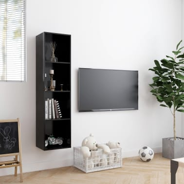 "vidaXL Book Cabinet/TV Cabinet Black 56.3""x11.8""x14.2""[3/6]"