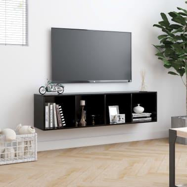 "vidaXL Book Cabinet/TV Cabinet Black 56.3""x11.8""x14.2""[4/6]"