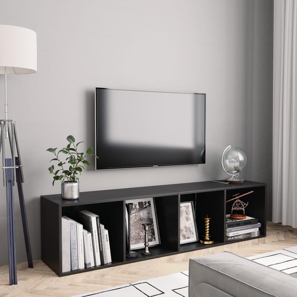 vidaXL Bibliotecă/Comodă TV, negru, 143 x 30 x 36 cm vidaxl.ro