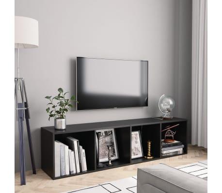 "vidaXL Book Cabinet/TV Cabinet Black 56.3""x11.8""x14.2""[1/6]"