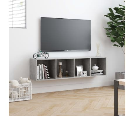 "vidaXL Book Cabinet/TV Cabinet Concrete Gray 56.3""x11.8""x14.2""[4/6]"
