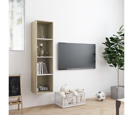 """vidaXL Book Cabinet/TV Cabinet White and Sonoma Oak 56.3""""x11.8""""x14.2""""[3/6]"""